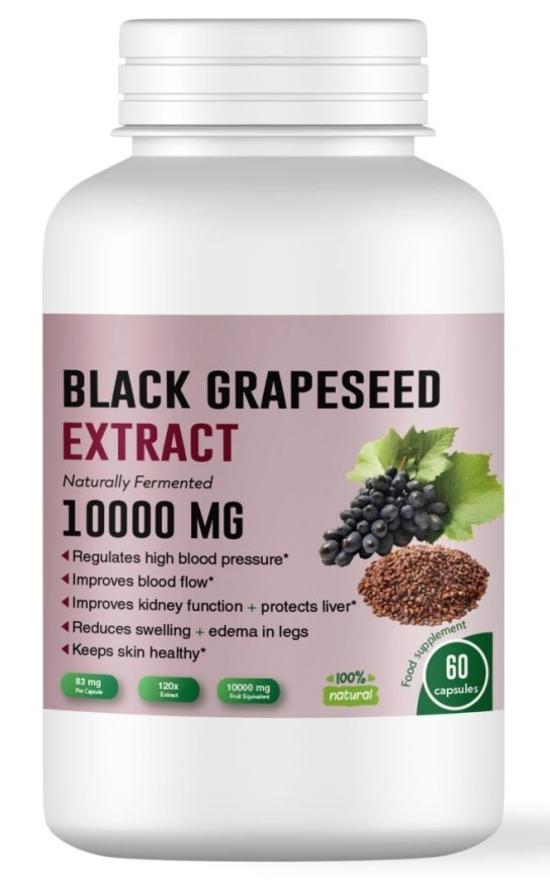 Екстракт от гроздови семена за високо кръвно, бъбреци и черен дроб - 60 капсули, (120:1) 10 000 mg