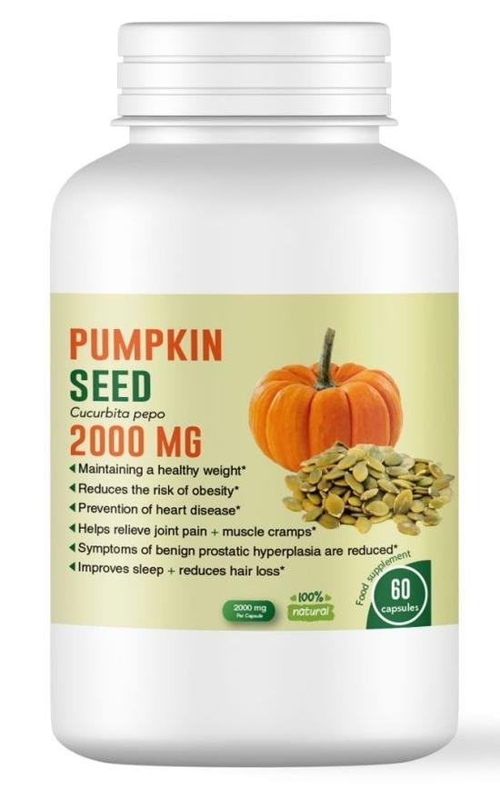 Тиквено семе 2000 мг за здрави кости, сърце и простата - 60 капсули