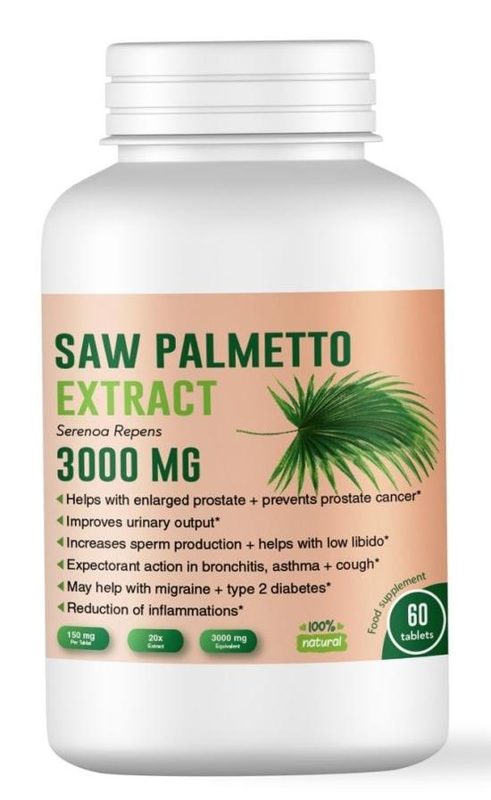 Сао Палмето (Saw Palmetto) за здрава простата - 3000 мг, 60 таблетки