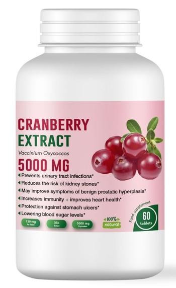 Червена боровинка 5000 мг + Витамин С - подпомага функционирането на пикочно-половата система - 60 таблетки