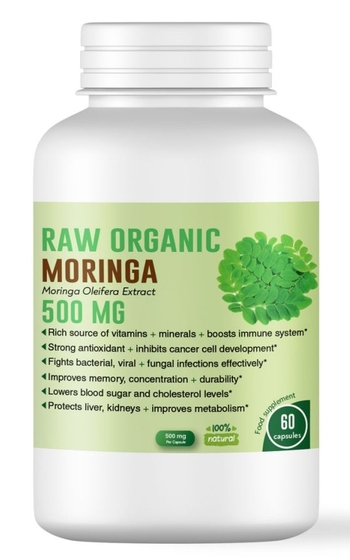 Био Моринга (Moringa Oleifera) 500 мг, 60 капсули – мощен имуностимулант