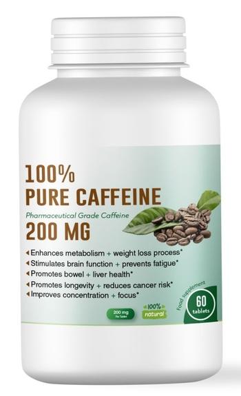 Чист кофеин на таблетки – повишава енергията, подобрява концентрацията, засилва метаболизма