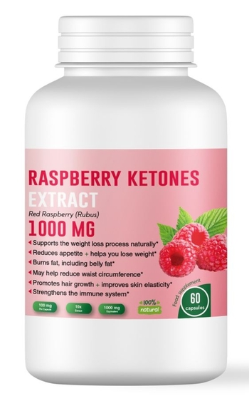Малинови кетони 1000 мг - за гарантирано отслабване, 60 капсули (Made in U.K.)