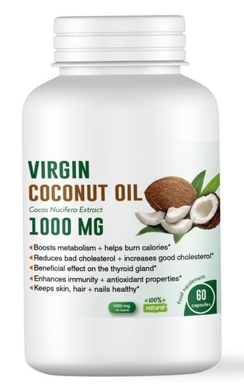 Органично кокосово масло за отслабване 1000 мг, 60 капсули